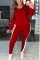 Red White Fashion Casual Sportswear Long Sleeve O Neck Regular Sleeve Regular Patchwork Two Pieces
