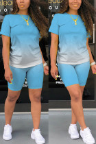 Light Blue Fashion Casual Gradient Short Sleeve Two Pieces
