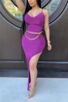 Purple Sexy Spaghetti Strap Sleeveless V Neck Sling Dress Floor Length Solid Dresses (Without Belt)