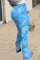 Blue Fashion Casual Daily Skinny Tie Dye Trousers