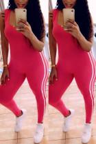 Red Fashion Sexy Sportswear U Neck Sleeveless Spaghetti Strap Skinny Patchwork Jumpsuits