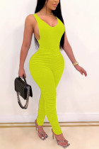 Yellow Fashion Sexy adult Ma'am Solid Two Piece Suits pencil Sleeveless Two Pieces