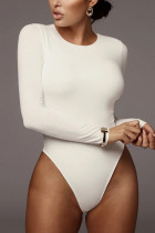 White Fashion Sexy Sportswear O Neck Sleeveless Regular Sleeve Skinny Solid Jumpsuits
