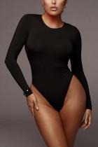 Black Fashion Sexy Sportswear O Neck Sleeveless Regular Sleeve Skinny Solid Jumpsuits