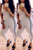 White Fashion Sexy Sportswear U Neck Sleeveless Spaghetti Strap Skinny Patchwork Jumpsuits