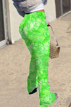 Green Fashion Casual Daily Skinny Tie Dye Trousers