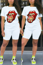 White Fashion Casual Sportswear Daily Short Sleeve O Neck Regular Sleeve Regular Lips Printed Two Pieces