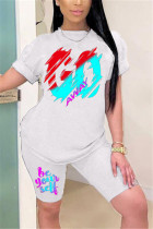 White Milk Silk Fashion Casual adult Ma'am Print Two Piece Suits Straight Short Sleeve Two Pieces