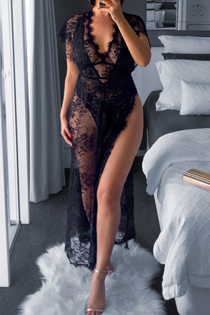 Black Sexy Party Regular Sleeve Short Sleeve V Neck Lace Dress Mid Calf Solid Dresses