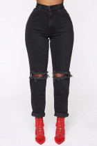 Black Fashion Sexy Straight Solid Trousers