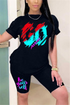 Black Milk Silk Fashion Casual adult Ma'am Print Two Piece Suits Straight Short Sleeve Two Pieces