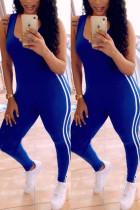 Blue Fashion Sexy Sportswear U Neck Sleeveless Spaghetti Strap Skinny Patchwork Jumpsuits