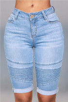 Light Blue Fashion Street Daily Skinny Solid Shorts