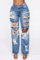 Blue Fashion Sexy Straight Patchwork Trousers