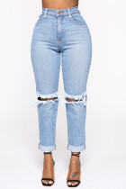 Light Blue Fashion Sexy Straight Solid Trousers