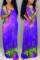 Purple Fashion Casual Regular Sleeve Short Sleeve V Neck Printed Dress Floor Length Print Dresses