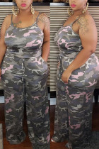 Camouflage Fashion Sexy adult Ma'am Slip Camouflage Two Piece Suits Stitching Plus Size