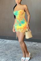 Colorful Fashion Sexy Sweet Elegant Spaghetti Strap Sleeveless Spaghetti Strap Sling Dress Mini Mixed Printing Dresses