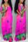 Rose Red Fashion Casual Regular Sleeve Short Sleeve V Neck Printed Dress Floor Length Print Dresses