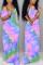 Sky Blue Fashion Casual Regular Sleeve Short Sleeve V Neck Printed Dress Floor Length Print Dresses