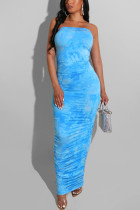Blue Fashion Sexy Elegant Off The Shoulder Sleeveless Strapless Sheath Ankle Length Mixed Printing Dresses