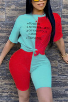 Fashion Letter Printed T-shirt Blue Stitching Set