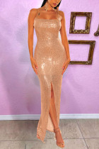 Gold Sexy Off The Shoulder Spaghetti Strap Sling Dress Floor Length Solid Dresses