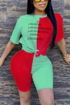Fashion Letter Printed T-shirt Red Stitching Set