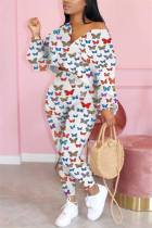 White Fashion Casual Long Sleeve Zipper Collar Regular Sleeve Short Butterfly Print Two Pieces
