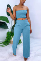 Blue Sexy Sleeveless Strapless Off The Shoulder Short Solid Two Pieces