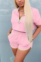 Pink Casual Short Sleeve Zipper Collar Regular Sleeve Short Solid Two Pieces