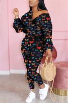 Black Fashion Casual Long Sleeve Zipper Collar Regular Sleeve Short Butterfly Print Two Pieces