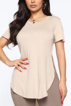 Khaki Fashion Casual O Neck Short Sleeve Regular Sleeve Regular Solid Tops
