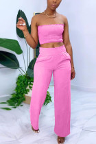 Pink Sexy Sleeveless Strapless Off The Shoulder Short Solid Two Pieces