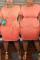 Orange Fashion Casual O Neck Short Sleeve Regular Sleeve Solid A Line Plus Size Dress