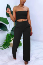 Black Sexy Sleeveless Strapless Off The Shoulder Short Solid Two Pieces