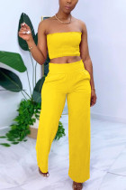 Yellow Sexy Sleeveless Strapless Off The Shoulder Short Solid Two Pieces