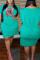 Sky Blue Fashion Casual O Neck Short Sleeve Regular Sleeve Print Printed Dress Plus Size