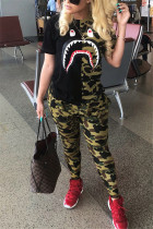 Camouflage Fashion Active adult Ma'am Print contrast color Two Piece Suits pencil Short Sleeve Two Pieces