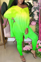 Green Fashion adult Ma'am OL Gradient contrast color Two Piece Suits pencil Long Sleeve Two Pieces