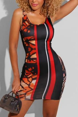 Black Red Fashion Sexy Spaghetti Strap Sleeveless U Neck Wrapped Skirt Mini Print Dresses