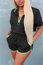 Black Casual Short Sleeve Zipper Collar Regular Sleeve Short Solid Two Pieces