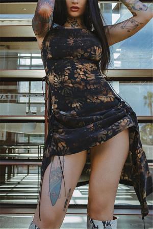 Black Sexy Spaghetti Strap Sleeveless Spaghetti Strap Printed Dress Mini Print Dresses