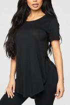 Black Fashion Casual O Neck Short Sleeve Regular Sleeve Regular Solid Tops