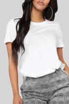 White Fashion Casual O Neck Short Sleeve Regular Sleeve Regular Solid Tops