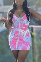 Pink Sexy Off The Shoulder Sleeveless V Neck Sling Dress Mini Print Dresses