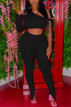 Black Fashion Sexy Long Sleeve One Shoulder Off The Shoulder Short Solid Two Pieces
