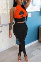 Orange Fashion Sportswear Sleeveless O Neck Off The Shoulder Short Print Two Pieces
