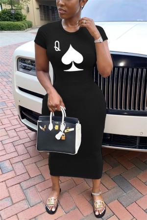 Black Fashion Casual Regular Sleeve Short Sleeve O Neck Printed Dress Mid Calf Print Dresses