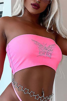 Pink Fashion Sexy Strapless Sleeveless Off The Shoulder Short Print Tops